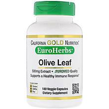 "Экстракт оливковых листьев California GOLD Nutrition, EuroHerbs ""Olive Leaf Extract"" 500 мг (180 капсул)"