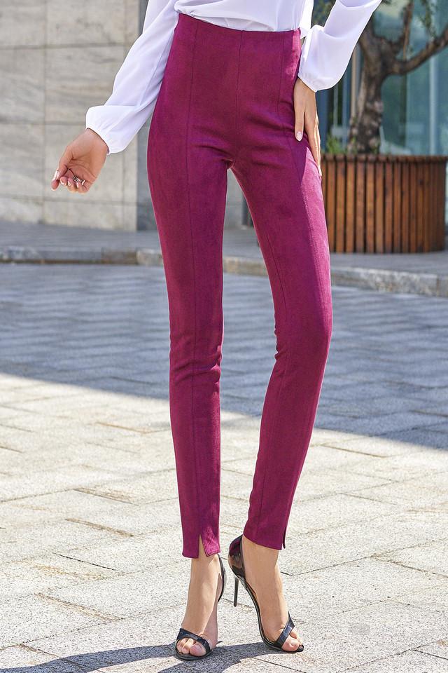 Женские брюки, марсала, искусственная замша, молодёжные, повседневные, элегантные
