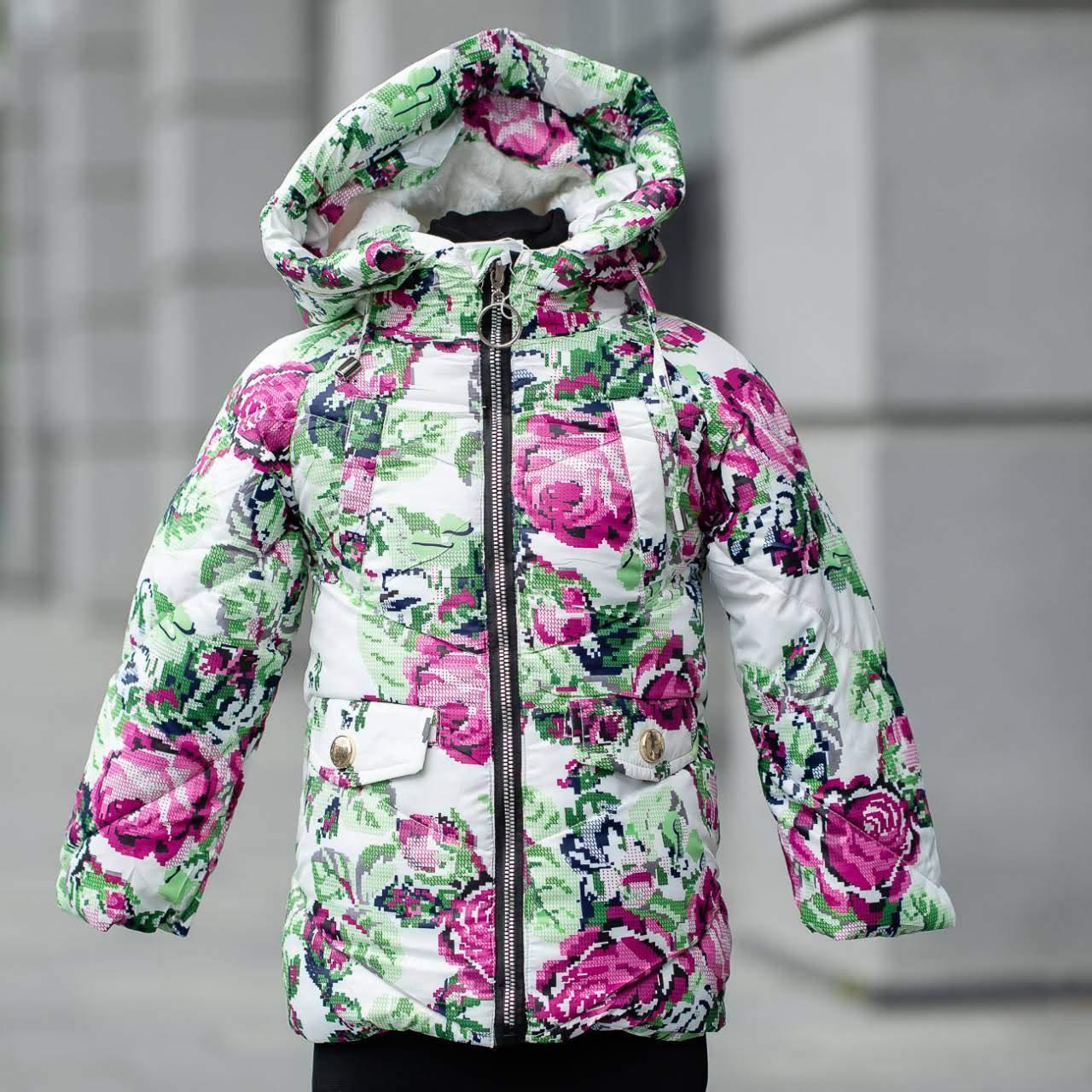 """Детская зимняя куртка на девочку """"Розы"""" , цвет - принт,  размеры на 3 - 7 лет"""