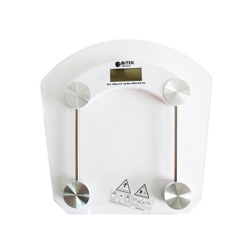Напольные электронные весы на 180 кг стеклянные ВТ-1603 Bitek Украина с доставкой по Украине, Белые