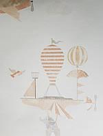 Обои виниловые на флизелиновой основе G.L.Design 23231 COLOURFUL детские на белом фоне самолеты дерижабли, фото 1
