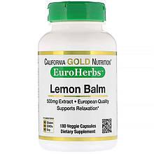 "Мелисса California GOLD Nutrition, EuroHerbs ""Lemon Balm"" лимонный бальзам, 500 мг (180 капсул)"