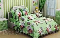 """Комплект в дитяче ліжечко з бязі голд """"Вантажівка зелений"""""""