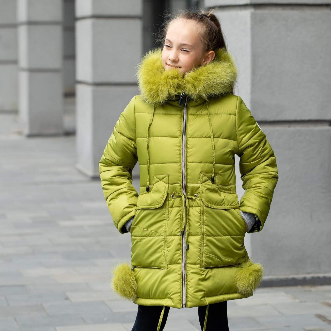 """Детская зимняя куртка на девочку """"Люси"""", цвет -яблоко, размеры 26 - 36"""