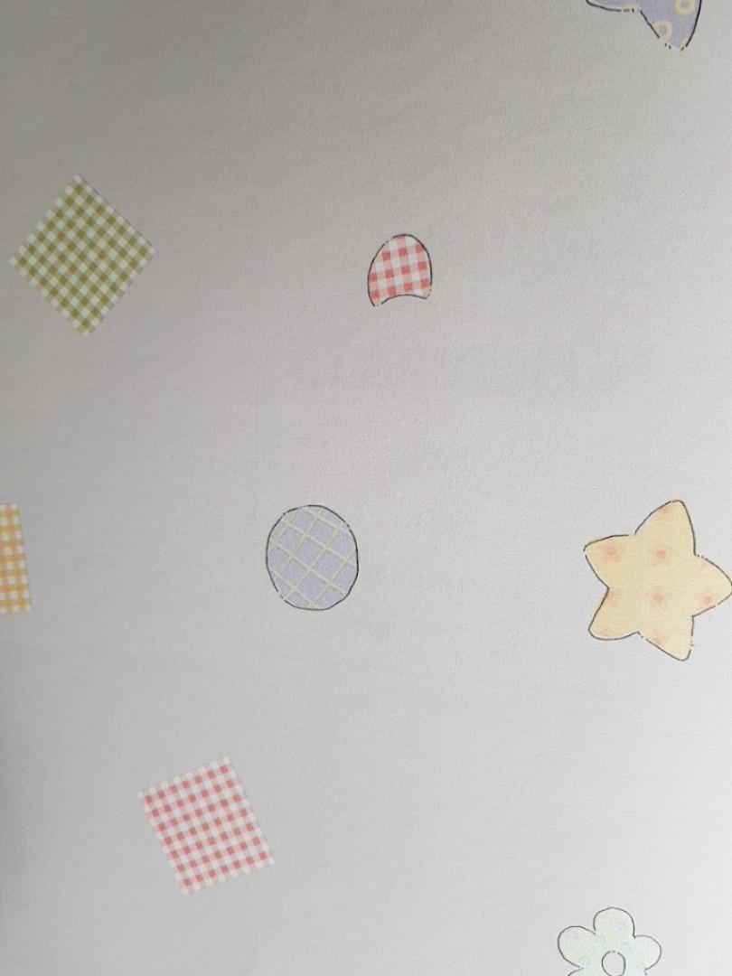 Обои виниловые на флизелиновой основе G.L.Design 23251 COLOURFUL детские кремовые круги звезды цветы
