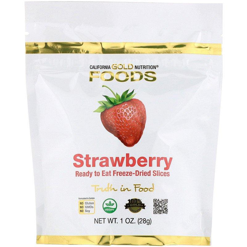 """Клубника California GOLD Nutrition """"Freeze Dried Strawberry"""" сушеные кусочки (28 г)"""
