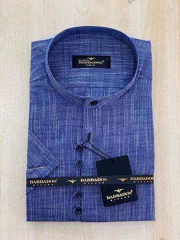 Рубашка с коротким рукавом Barbados лён,  стойка-воротник, фото 2