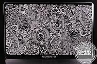 Пластина для стемпинга FLOWERS -01  (16см / 10 см)