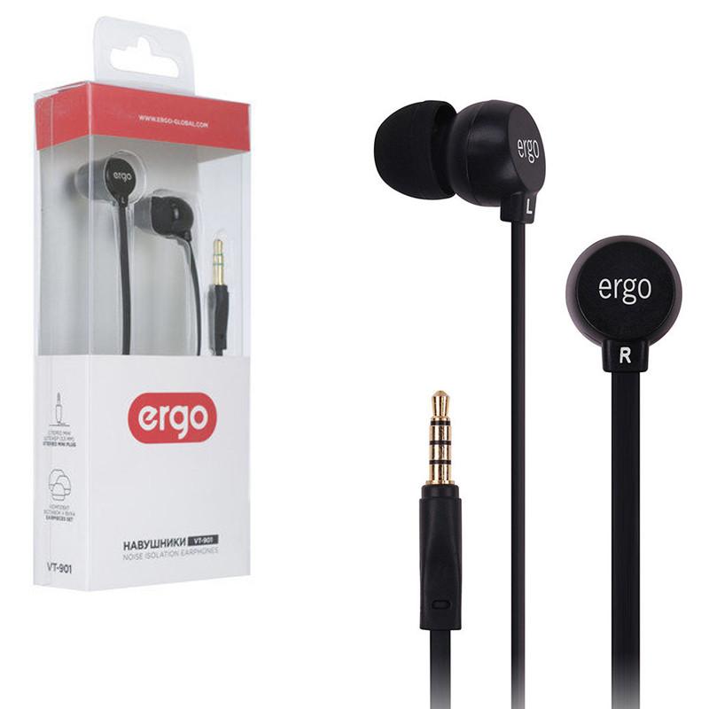 Наушники Ergo VT-901 черные, вакуумные, проводные для телефона, навушники эрго
