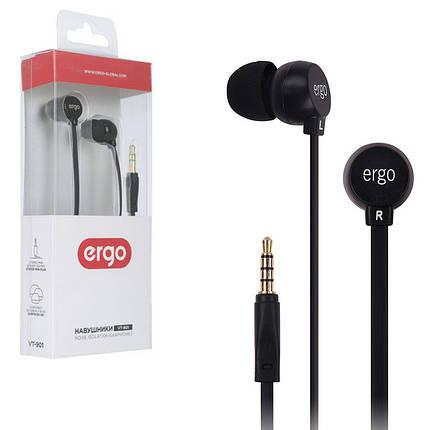 Наушники Ergo VT-901 черные, вакуумные, проводные для телефона, навушники эрго, фото 2