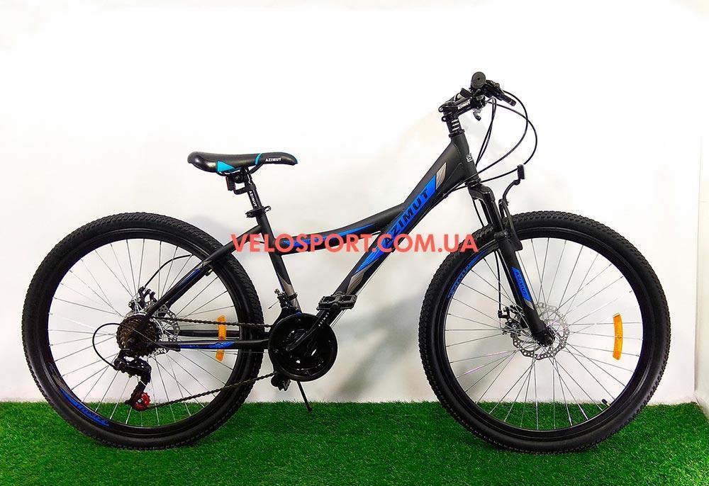 """Велосипед 26"""" Azimut Navigator GD черно-синий на оборудование SHIMANO TORNEY"""