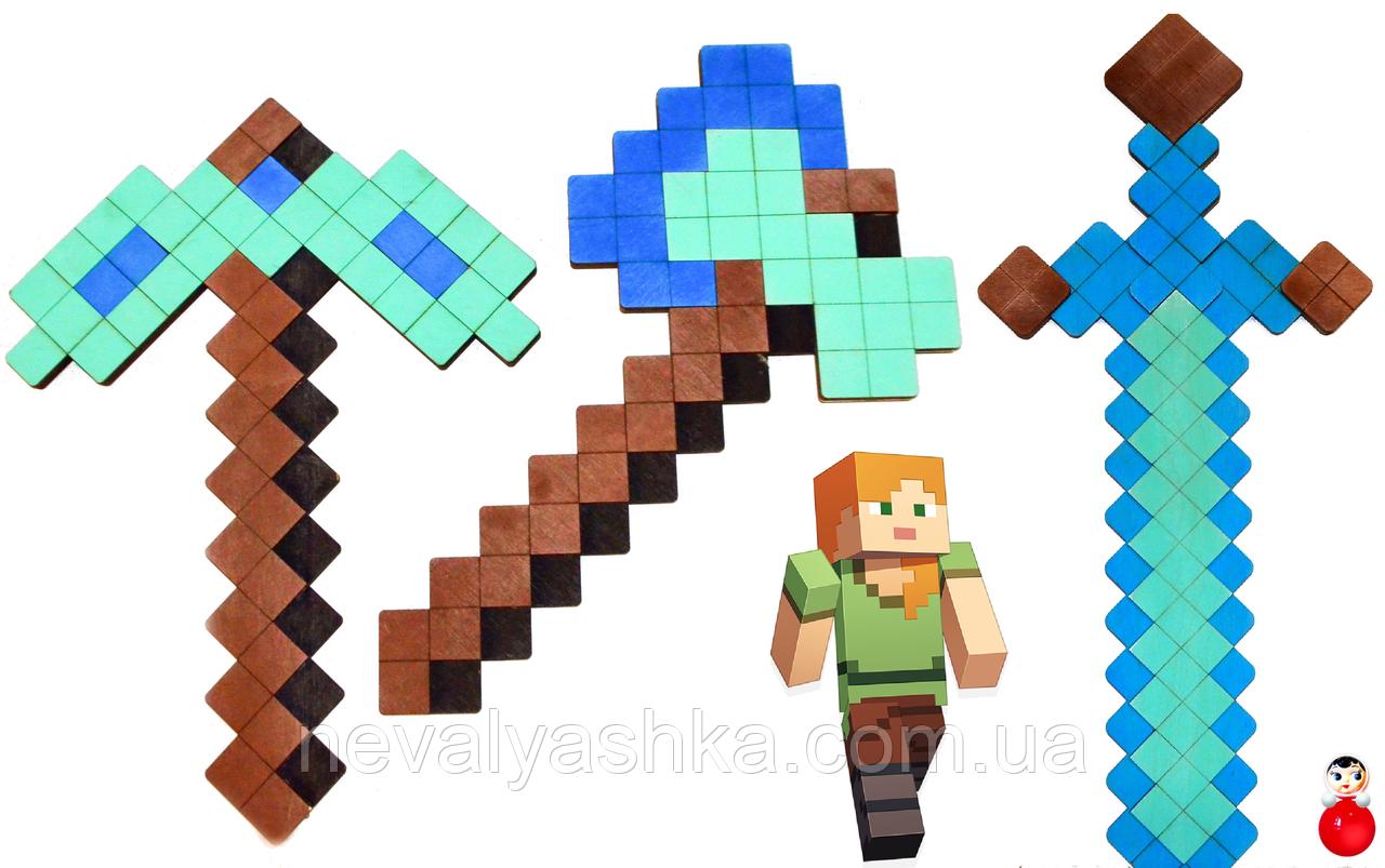 Набор Деревянного Оружия 3 шт из игры Майнкрафтт Оружие Детский Игрушечный Алмазный Меч Minecraftt 011200