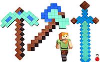 Набор Деревянного Оружия 3 шт из игры Майнкрафтт Оружие Детский Игрушечный Алмазный Меч Minecraftt 011200, фото 1