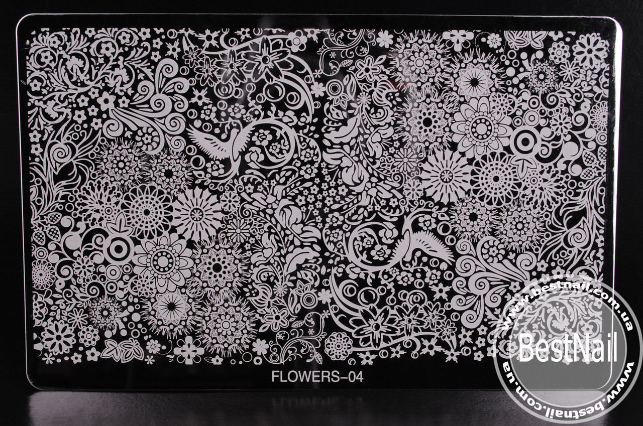 Пластина для стемпинга FLOWERS-04  (16см / 10 см)
