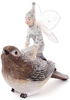 Статуэтка декоративная Фея с птичкой 18.2 х 12.6 х 18.2 см Коричневый psgBD-838-148, КОД: 945580