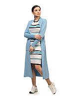 Длинный классический женский кардиган SVTR 54-56 Голубой 492, КОД: 1070251