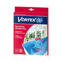 Микрофибра-салфетка для стекла, зеркал 35х35см Vortex-18300920 голубая