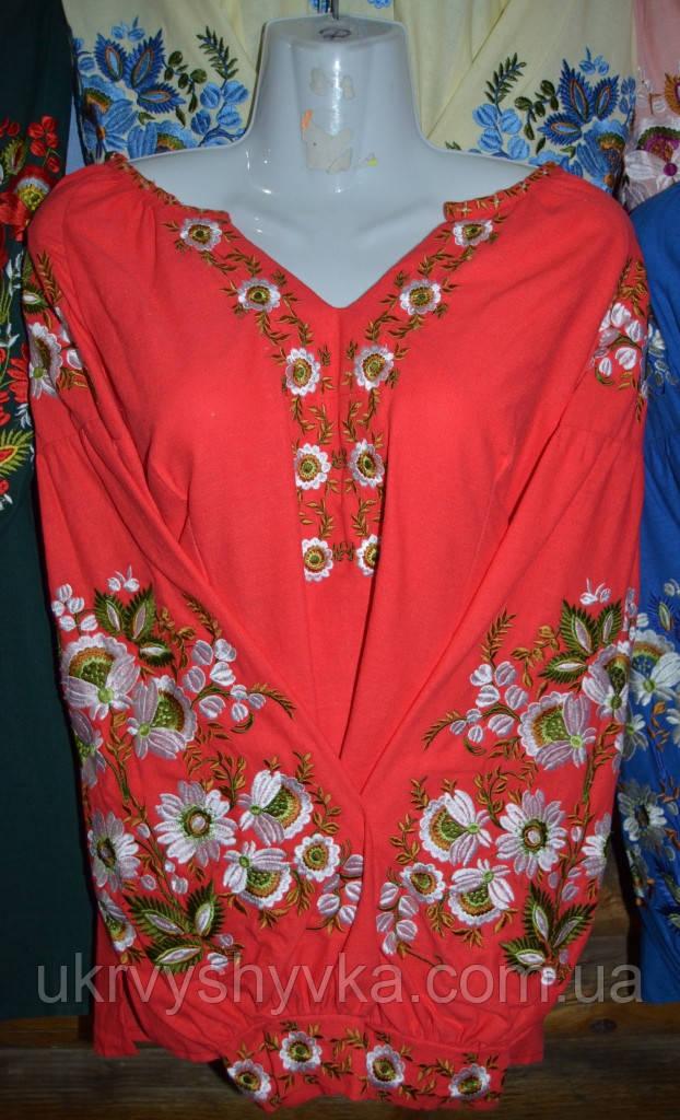 """Вишита блузка """"Світанок"""" червона"""