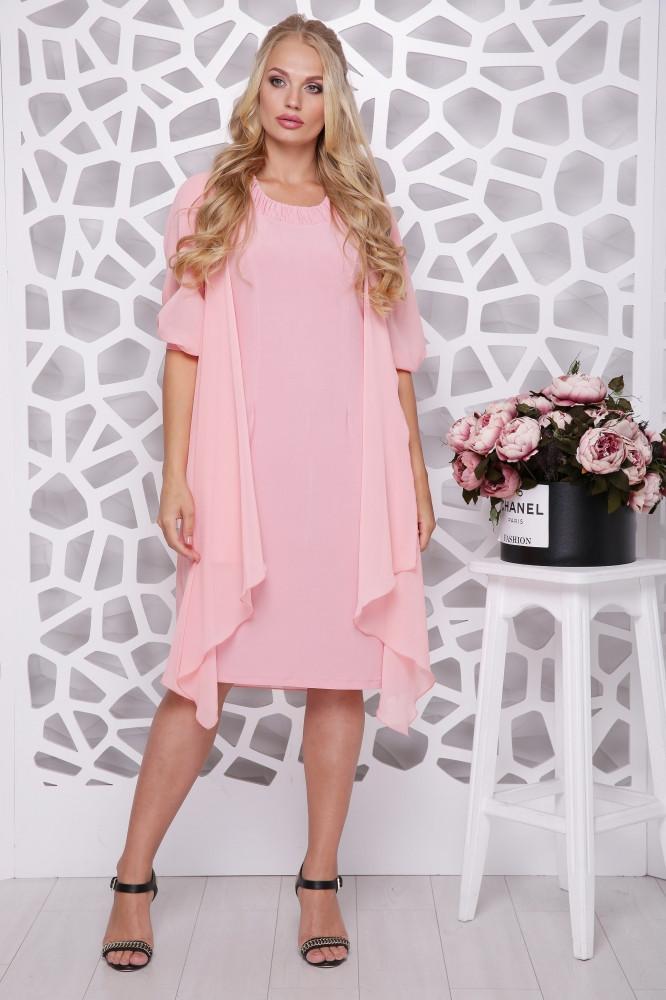 Красивое женское платье с шифоновой накидкой батал с 48 по 58 размер