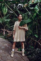 Платье-футболка MIDI OVERSIZE принт SHE No Nude - бежевое