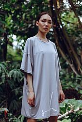 😜 Платье-футболка MIDI OVERSIZE принт SHE Stone - серое