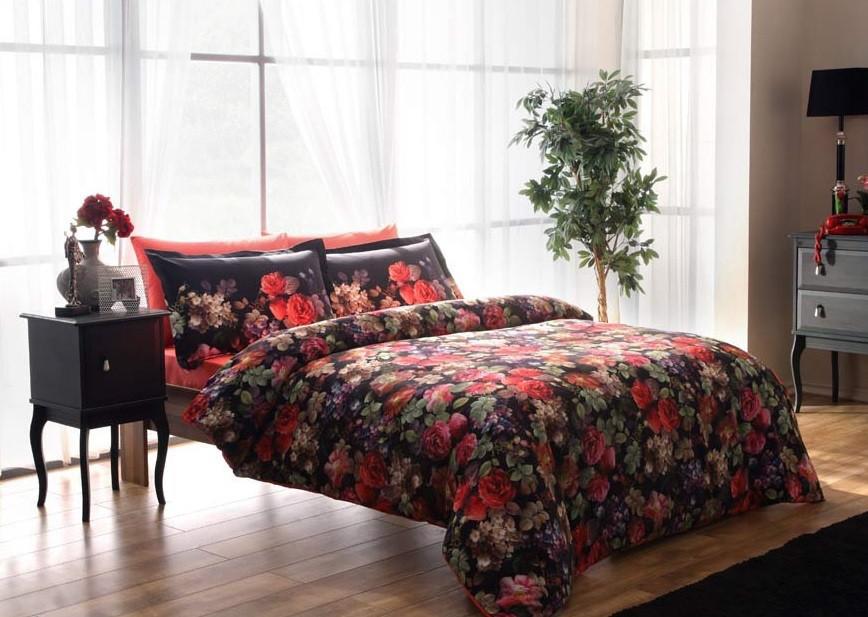 Двуспальное евро постельное белье TAC Despina Red Сатин-Digital