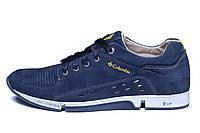 Мужские кожаные летние кроссовки, перфорация Columbia Blue, фото 1