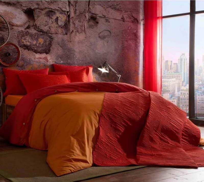 Двуспальный евро комплект TAC Colorful Orange Ранфорс / простынь на резинке