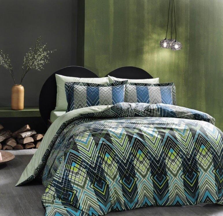 Двуспальное евро постельное белье TAC Shanghai Сатин-Digital