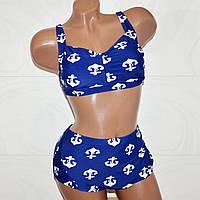 Красивый раздельный купальник для морячек. Темно-синий с якорями. 56 размер 5XL