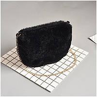 Меховая сумка Kronos Top На плечо Черная stet737, КОД: 354898
