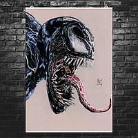 """Постер """"Venom, Веном"""". Карандашный рисунок (репродукция). Размер 60x43см (A2). Глянцевая бумага"""