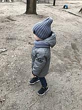 Демисезонный детский вязаный набор шапочка и снуд ручной работы для мальчика.