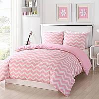 Комплект постельного белья Зигзаг на розовом, ранфорс Lux, разные размеры, фото 1