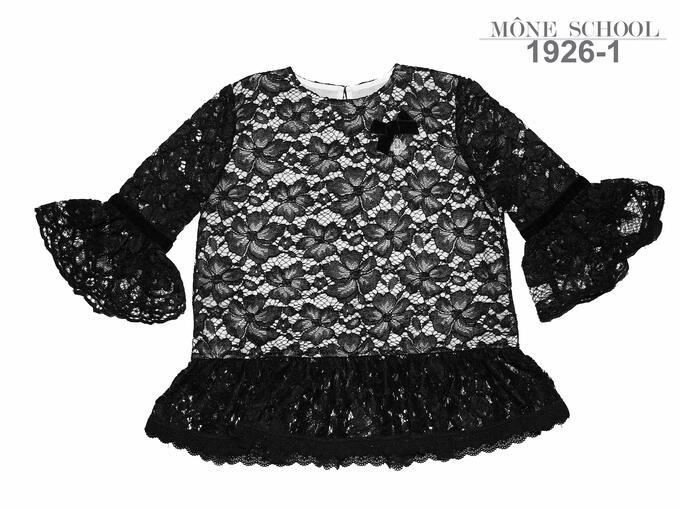 Черная  школьная блузка тм MONE р-ры 152