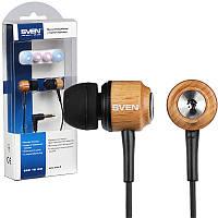 Наушники Sven SEB-12WD Wooden, вакуумные, проводные для телефона, навушники свен