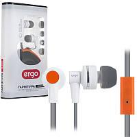Гарнитура Ergo ES-900i белые, вакуумные, проводные наушники с микрофоном для телефона, навушники эрго