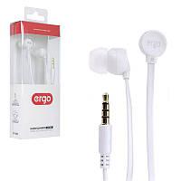 Наушники Ergo VT-901 белые, вакуумные, проводные для телефона, навушники эрго