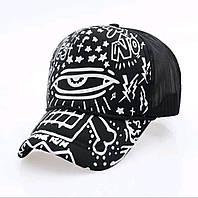 Кепка тракер Глаз с сеточкой Черная, Унисекс, фото 1