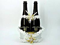 Корзинка Белая для свадебного шампанского