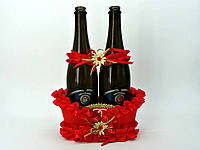 Корзинка Красная под свадебное шампанское