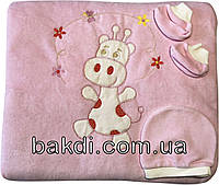 Детский утеплённый велюр набор конверт-одеяло 90х90 на выписку из роддома розовый для новорожденных девочке ТН-123