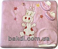 Осенний весенний утеплённый набор конверт-одеяло 90х90 демисезонный на выписку из роддома велюр розовый для новорожденных девочке ТН-123