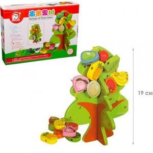 Деревянная игрушка Фрукты шнуровка