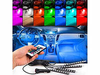 Светодиодная Led RGB подсветка салона ног днища авто c пультом, 16 цветов