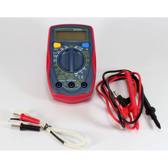 Цифровой мультиметр тестер вольтметр DT33C с термопарой