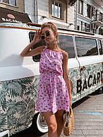 Сарафан женский мини с пышной юбкой и красивой спинкой штапель нежные цветочные принты Sml3615, фото 1