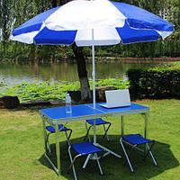 Стол для пикника + 4 стула +1 зонт оригинал
