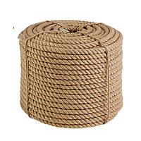 Канат джутовый 14 мм х 50 м  Веревка джутовая для декора  Бечевка  Пенька  Мотузка джутова Україна
