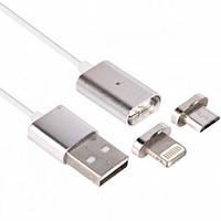 Магнитный кабель 2в1 для Android и Iphone Magnetic micro USB - Iphone Cable, фото 1